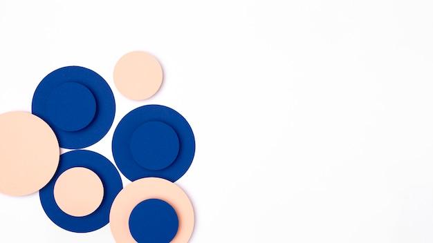 青と桃の紙の円 無料写真