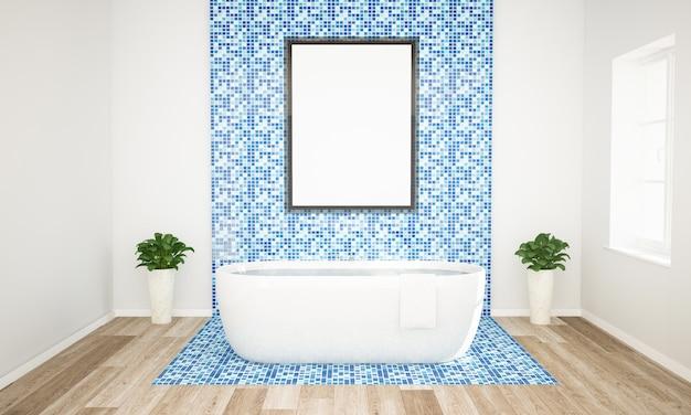 Сине-белая ванная комната с постером макет Premium Фотографии