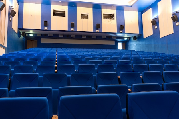 Blue arm-chairs in cinema Free Photo