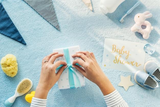 Blue baby shower Premium Photo