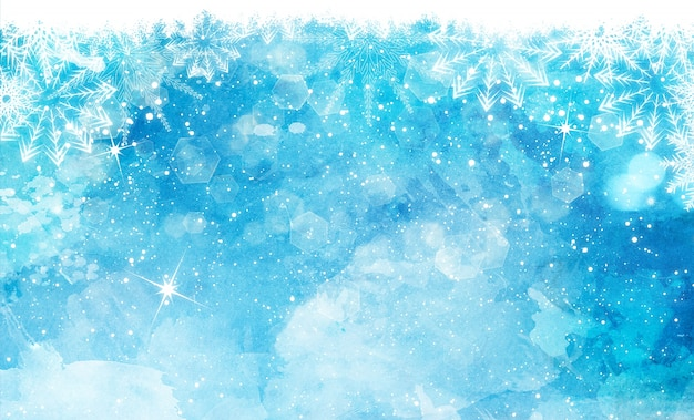 Blue background, watercolors christmas Free Photo