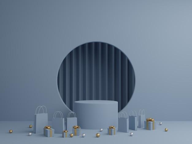 연단 모형, 선물 상자 및 제품에 대 한 쇼핑 가방 파란색 배경. 3d 렌더링. 프리미엄 사진