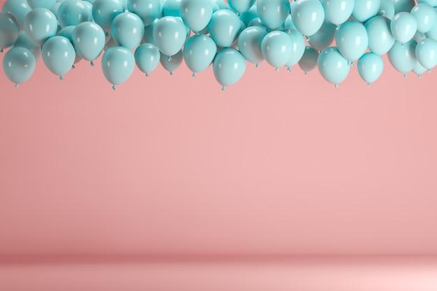 Blue balloons floating in pink pastel background room studio. Premium Photo