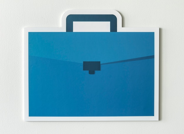 Blue business briefcase bag icon Free Photo