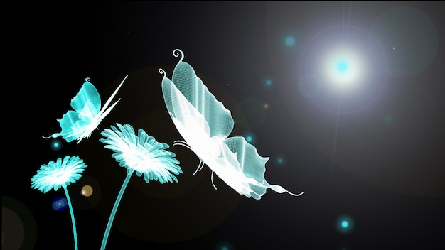 Blue butterfly, firefly, flower and sun is wireframe on background. 3d render. technology Premium Photo