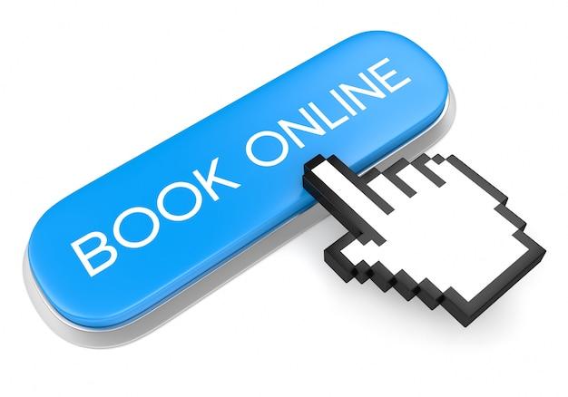 Blue button book online and hand cursor Premium Photo