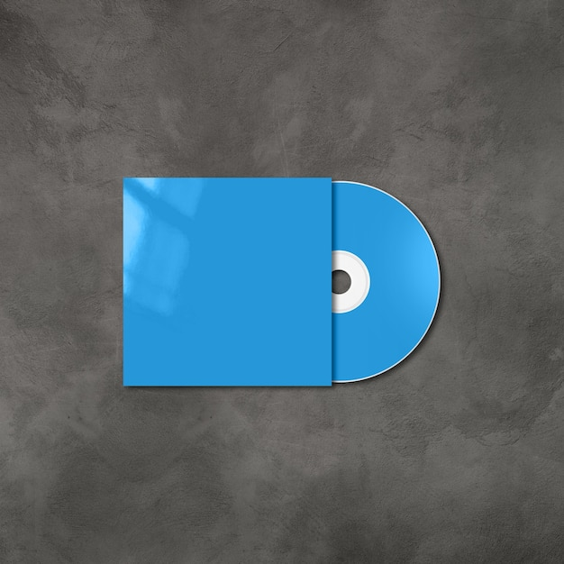 Blue cd - dvd label and cover mockup template isolated on concrete background Premium Photo