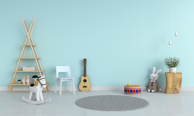 Blue chair and guitar in child room for mockup, 3d rendering Premium Photo
