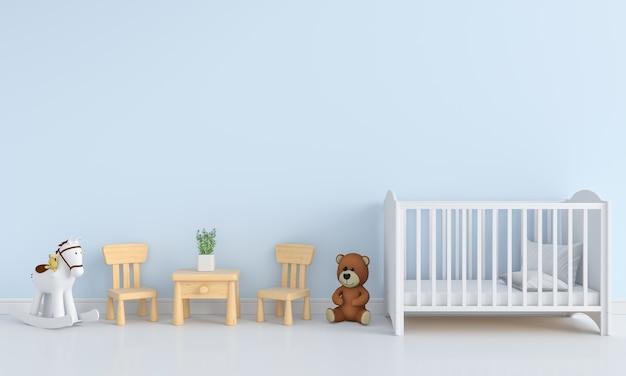 Blue child room interior for mockup Premium Photo