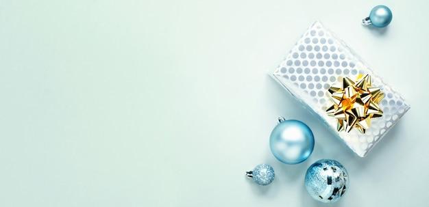 Blue christmas flat lay Free Photo