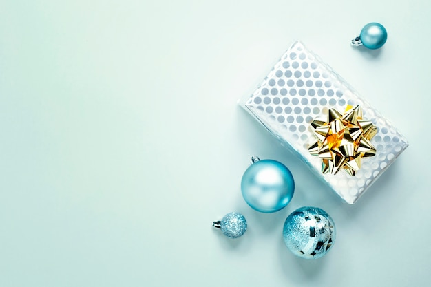 Blue christmas flat lay Free Photo