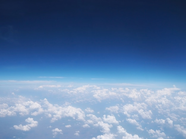 Blue clear sky view above white clouds Premium Photo