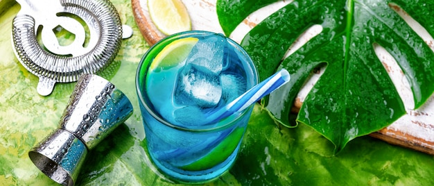 Blue cocktail with ice.alcohol drink Premium Photo