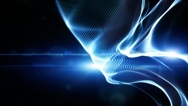 Синий цвет цифровых частиц волнового потока и освещения. концепция технологии абстрактный фон. с копией пространства Premium Фотографии