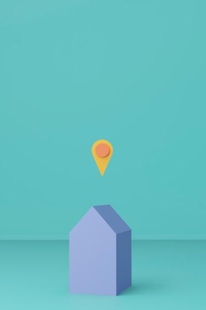 青い色の3 dレンダリング場所記号の付いた家。地理的な場所と在宅勤務のコンセプト。 Premium写真