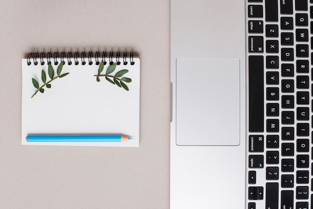 Blue colored pencil on spiral notepad and laptop on gray backdrop Free Photo