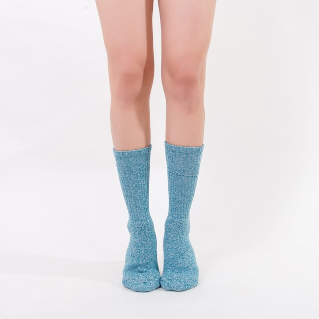 Blue Cotton Socks On Beautiful Woman S Feet Isolated On White
