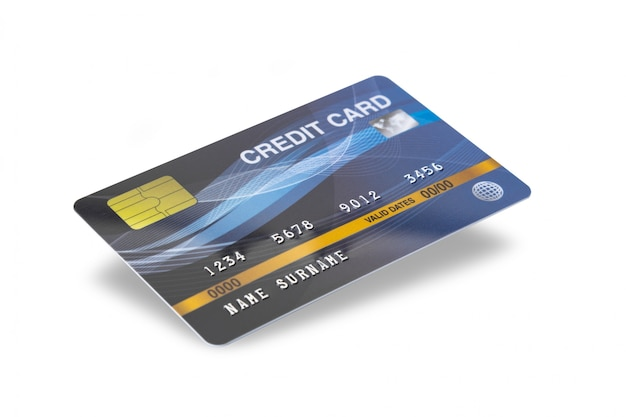 Blue credit card isolated on white background with clipping path. Premium Photo