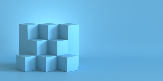 Blue cube boxes with blank wall background. 3d rendering. Premium Photo