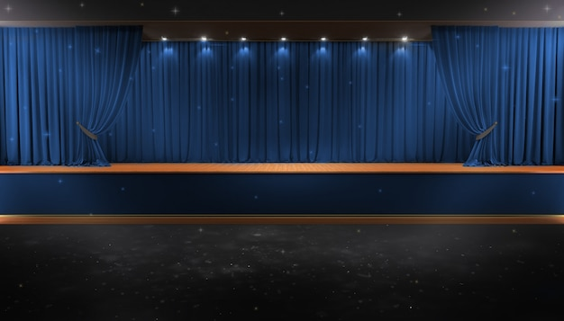 Blue curtain and a spotlight. festival night show poster Premium Photo