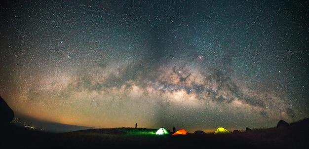 Blue dark night sky with with star milky way space background Premium Photo