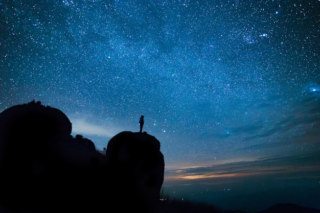 Blue dark night sky with with star milky way space background Premium Photo