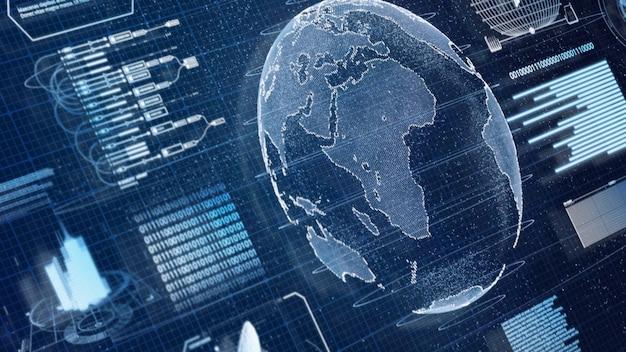 Blue digital hud earth world information scanning hologram Premium Photo