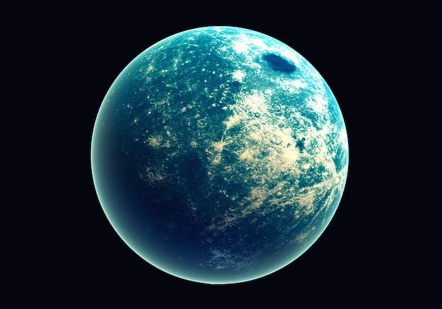 Голубая земля в космосе и галактика. глобус с наружным светом озона и белым облаком. Premium Фотографии