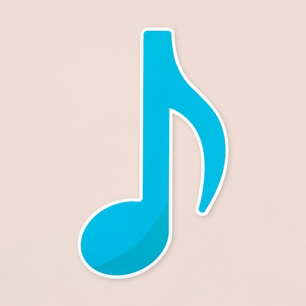 Blue eighth notes  icon isolated Free Photo