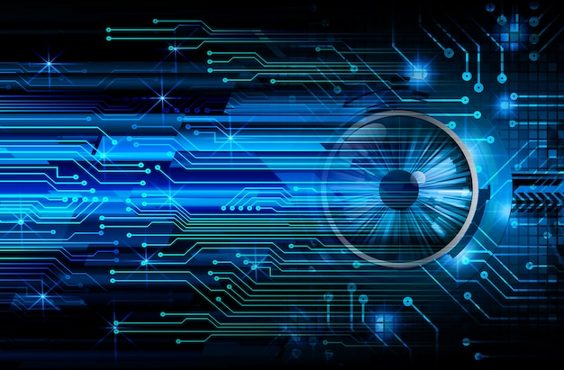 Blue eye cyber circuit future technology concept background Premium Photo