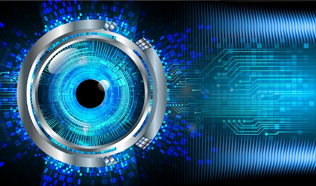 Blue eye cyber circuit future technology concept background Premium Photo