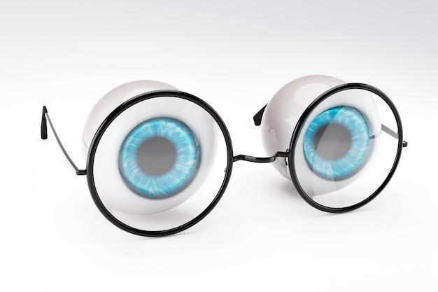 The blue eyeball of the human eye and black round glasses put on white Premium Photo