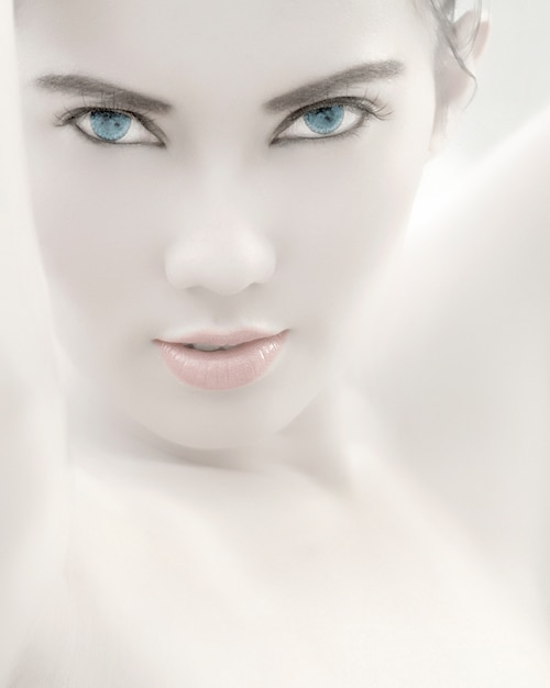 Asian girl with blue eyes
