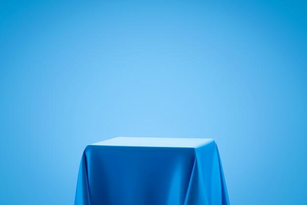 Голубая ткань на полке подиума или пустой дисплей студии на свете - голубая стена градиента с стилем искусства. пустой стенд для отображения продукта. 3d-рендеринг. Premium Фотографии