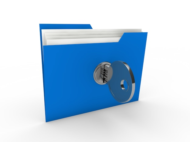 Blue filing cabinet with a key Free Photo