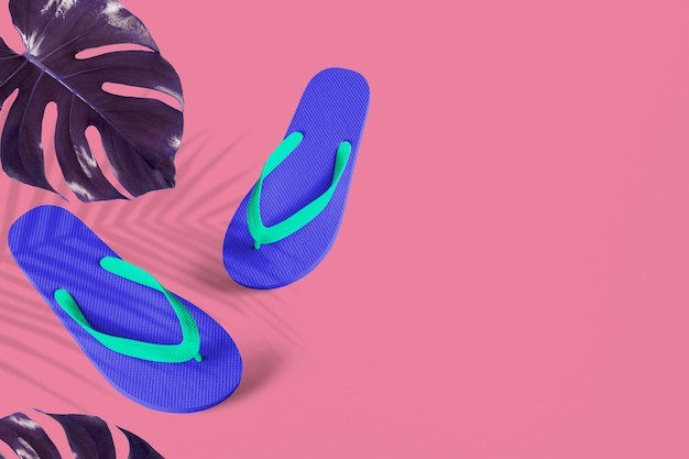 Blue flip-flops with indigo monstera Free Photo