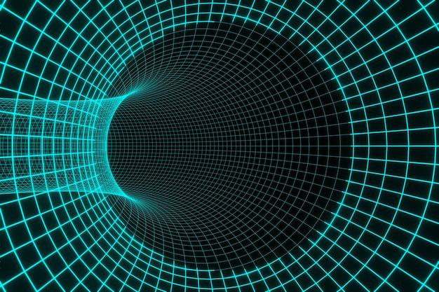 Синий футуристический цифровой технологический туннель черная дыра анимация 3d-рендеринга Premium Фотографии