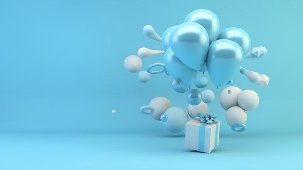 幾何学的形状の3dレンダリングに囲まれた風船と青い贈り物 Premium写真