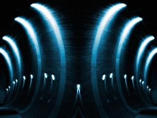 Blue glowing arches Free Photo