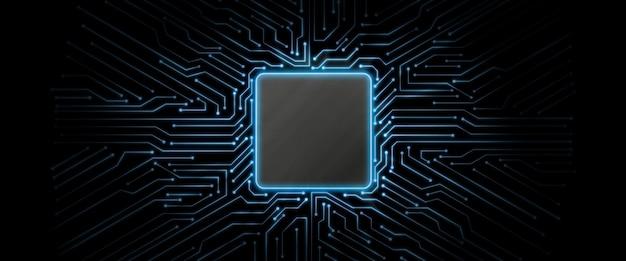 Blue glowing circuit board background Premium Photo