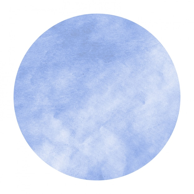 Blue hand drawn watercolor circular frame background texture with stains Premium Photo