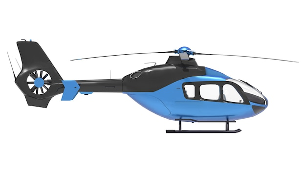 Blue helicopter isolated on the white Premium Photo