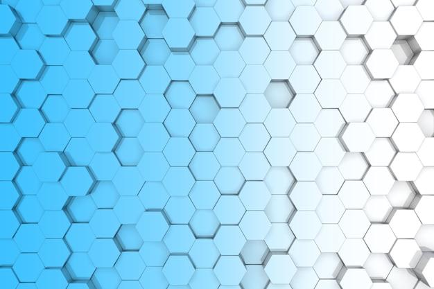 青い六角形の背景。 3d背景 Premium写真