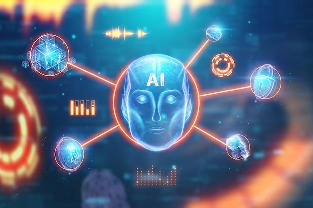 Голова робота blue hologram, искусственный интеллект на синем фоне Premium Фотографии