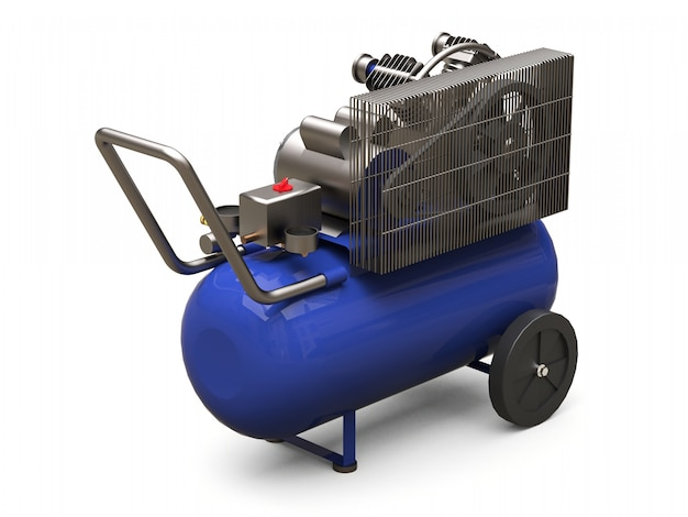 Blue horizontal air compressor isolated on a white surface Premium Photo