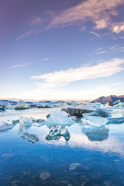 Blue icebergs in iceland in later sunset time Premium Photo
