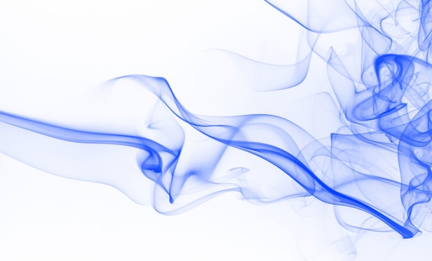 Blue ink water color. blue smoke abstract on white background Premium Photo