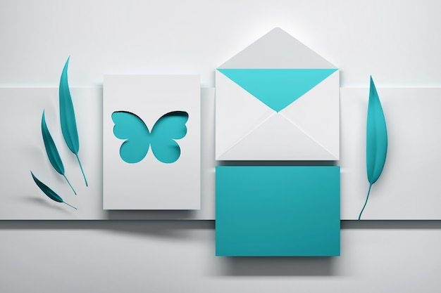 Blue invitation clebration card with butterfly and leaves Premium Photo
