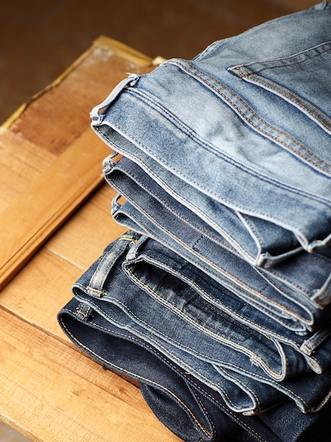 The blue jeans fabric details Free Photo