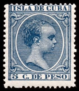 Blue king alfonso xiii stamp  stock Free Photo